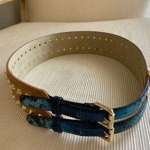 BCBGMaxAzria Accessories - BCBG Waist Belt Turquoise Snake Tan Gold Spikes
